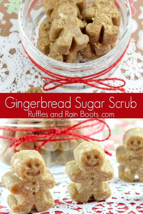 These fun gingerbread sugar scrub cubes are made with a simple recipe. Click to see how to make these with what's in your kitchen! #diybath #gingerbread #sugarscrub #bodyscrub #sugarscrubrecipe