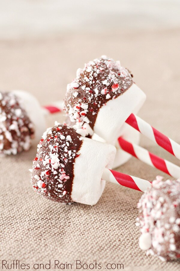 Chocolate Dipped Marshmallows for Christmas with crushed peppermint candy