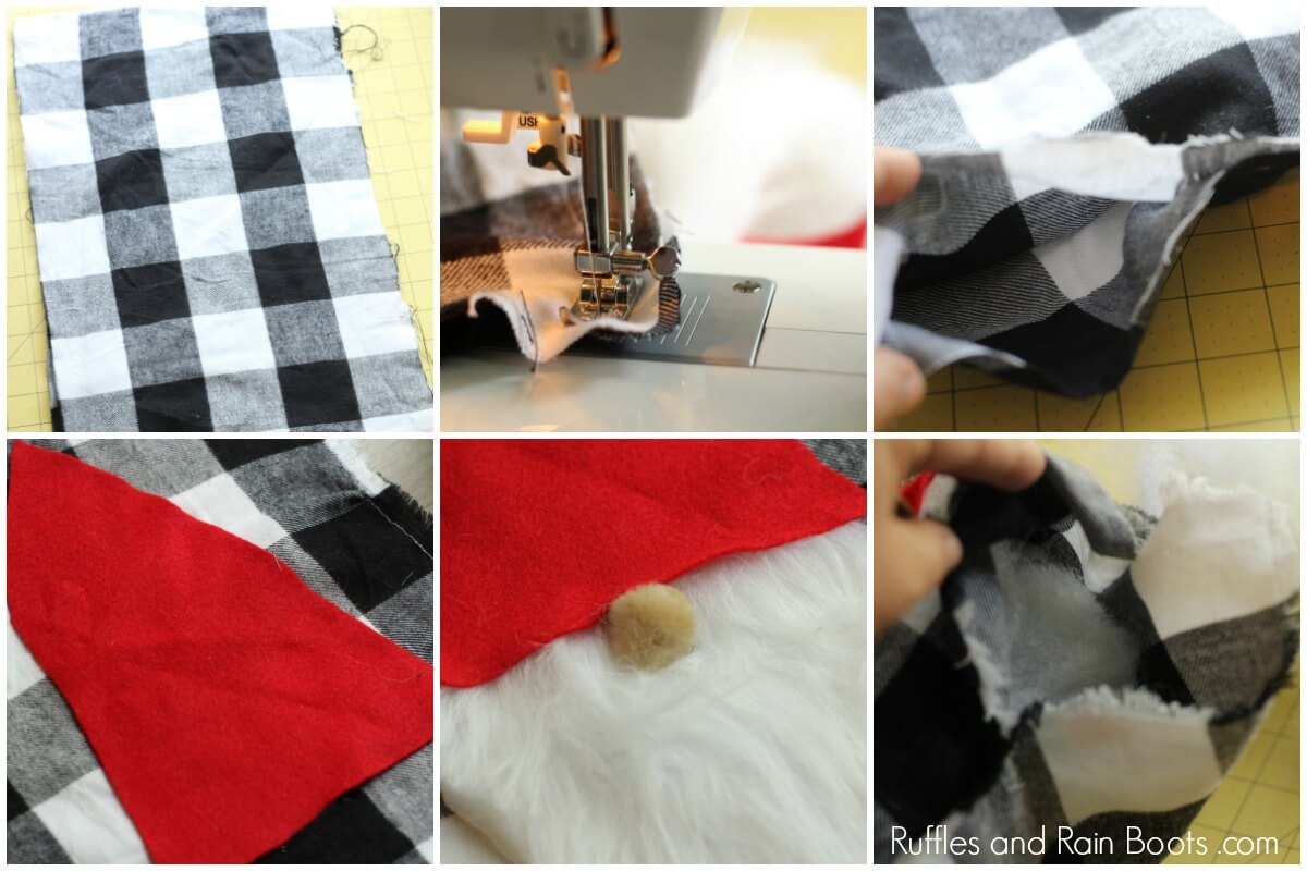 Photo collage of steps to make a gnome pillow cover