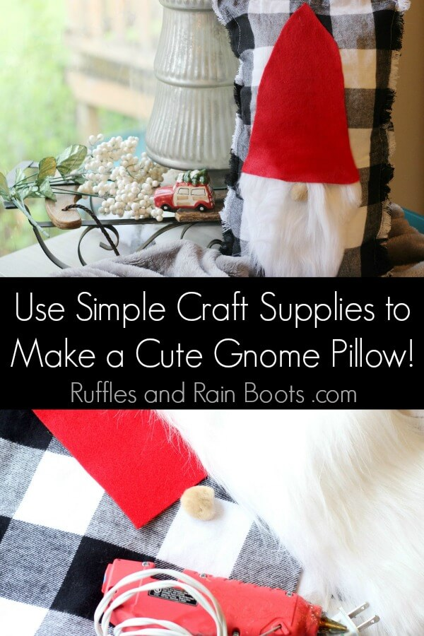 This DIY gnome pillow tutorial will have you adding holiday cheer to any décor in just minutes. Grab your hot glue gun and let's get started with this Christmas craft! #gnome #swedishgnome #scandianaviangnome #tomte #nisse #Christmaspillow #rufflesandrainboots