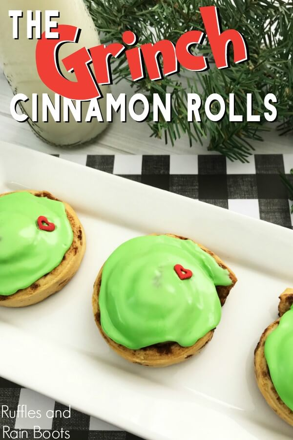 These easy Grinch cinnamon rolls are a holiday breakfast idea they won't forget! Click to see how easy and fun this Christmas breakfast can be. #TheGrinch #Grinch #Grinchfood #holidaybreakfast #breakfastrecipes #cinnamonrolls #rufflesandrainboots