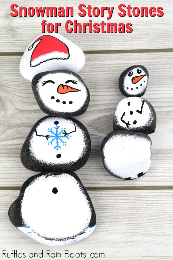 a set of snowman painted rocks with text which reads snowman story stones for Christmas rock painting