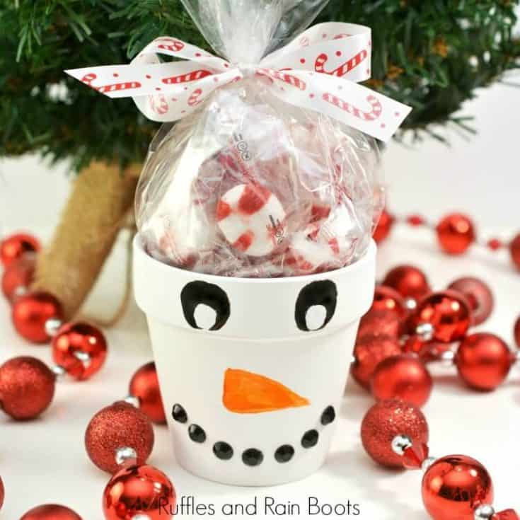 Snowman Painted Clay Pot Gift