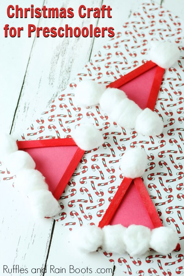 Santa ornament craft for kids on holiday paper with text which reads Christmas craft for preschoolers