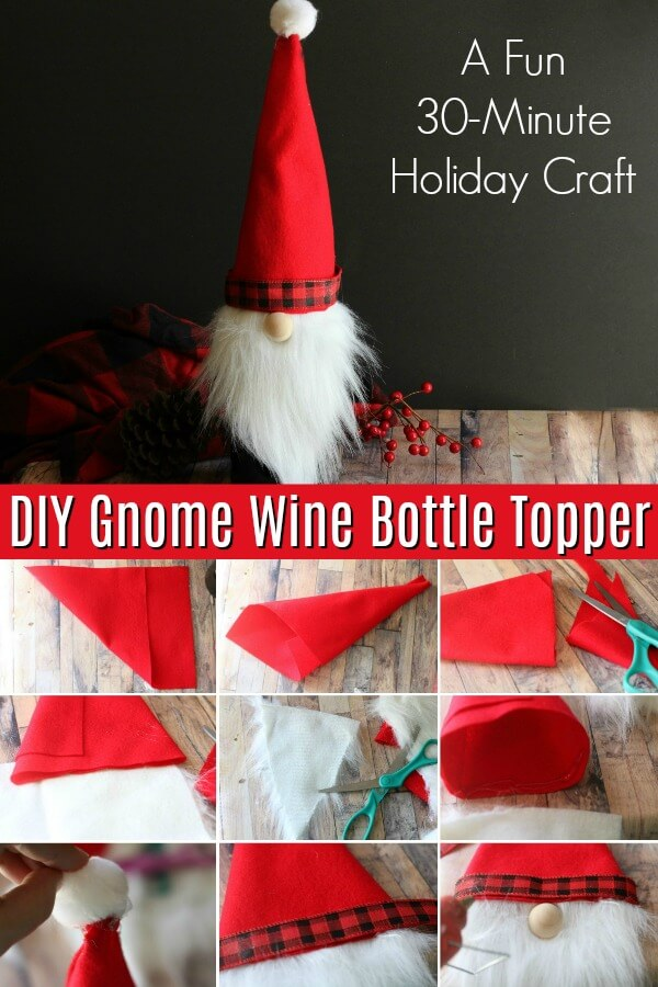 Christmas Gnome Wine Bottle Cover Great For Gifting