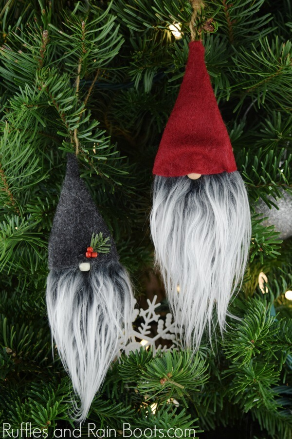 DIY Christmas Gnome Ornaments made with simple craft supplies