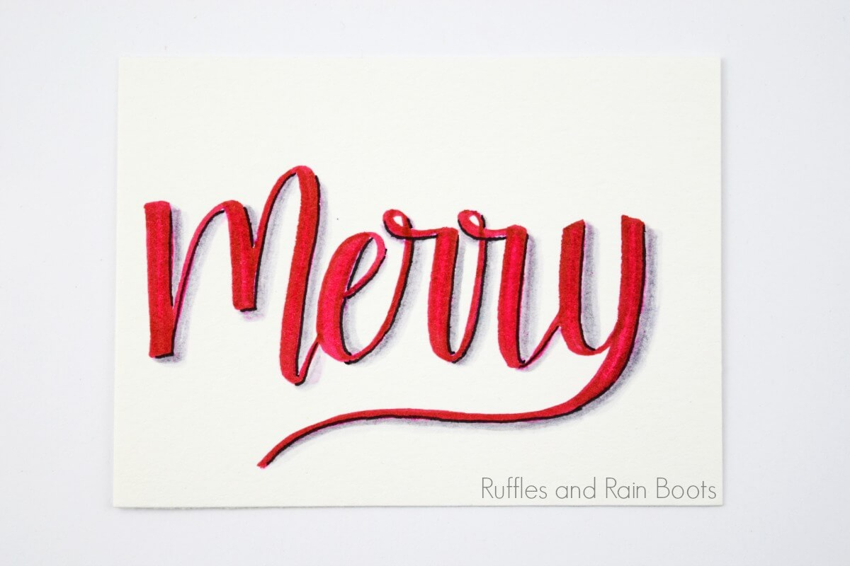 example for hand lettering shadows tutorial