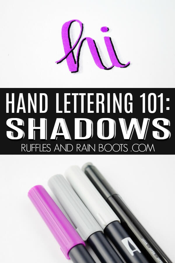 photo collage of hand lettering example with text which reads hand lettering 101 shadows