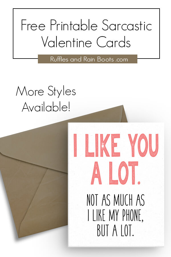 photograph relating to Printable Valentine Cards for Husband identified as Absolutely free Sarcastic Printable Valentines - Playing cards for Grownups
