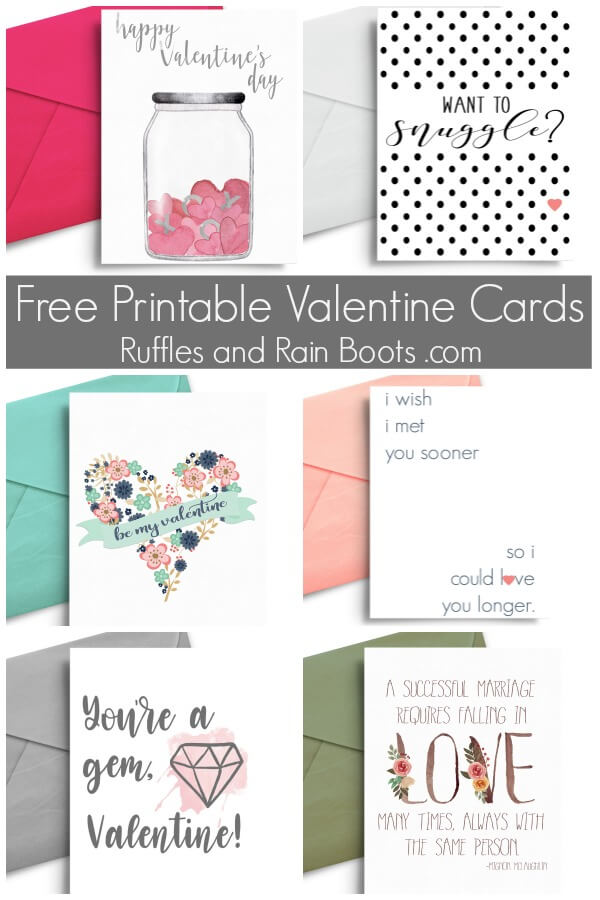 photo collage of valentines day cards with text which reads free romantic printable valentine cards