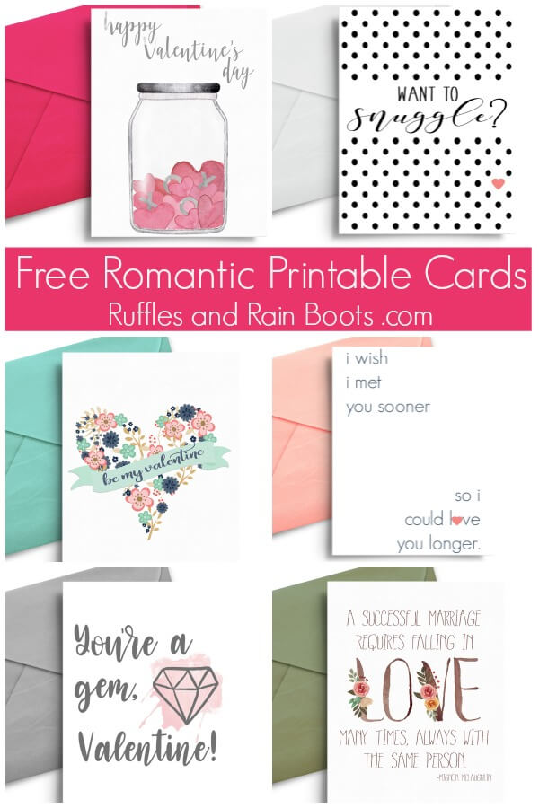 photo collage of romantic printable Valentines cards for husbands and wives