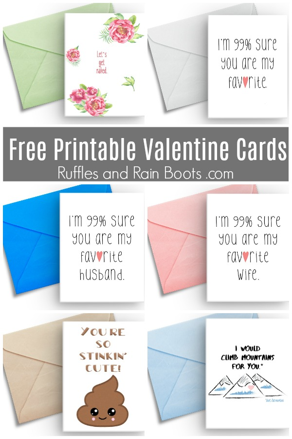 photo collage of handmade cards with text which reads Free Printable Valentines Cards