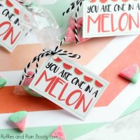 Watermelon Candy Valentine Printable Cards for Kids