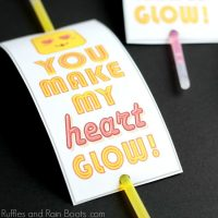 Easy and Fun Glow Stick Valentine Printable Cards