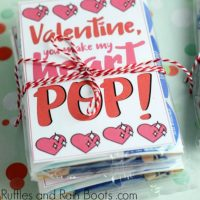 Non-Candy Popcorn Valentine Printable Card