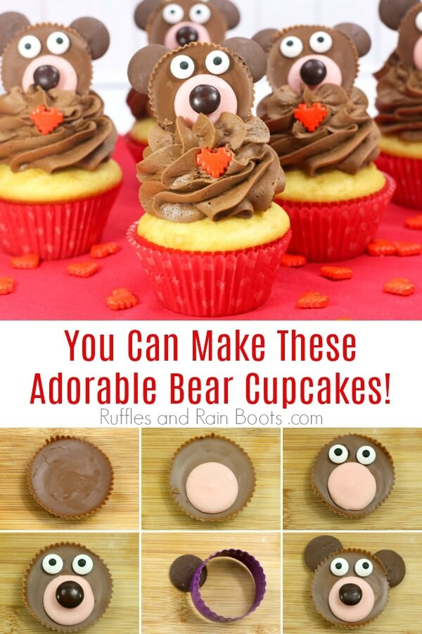 photo collage of teddy bear cupcakes on red background with text which reads You Can Make These Adorable Bear Cupcakes