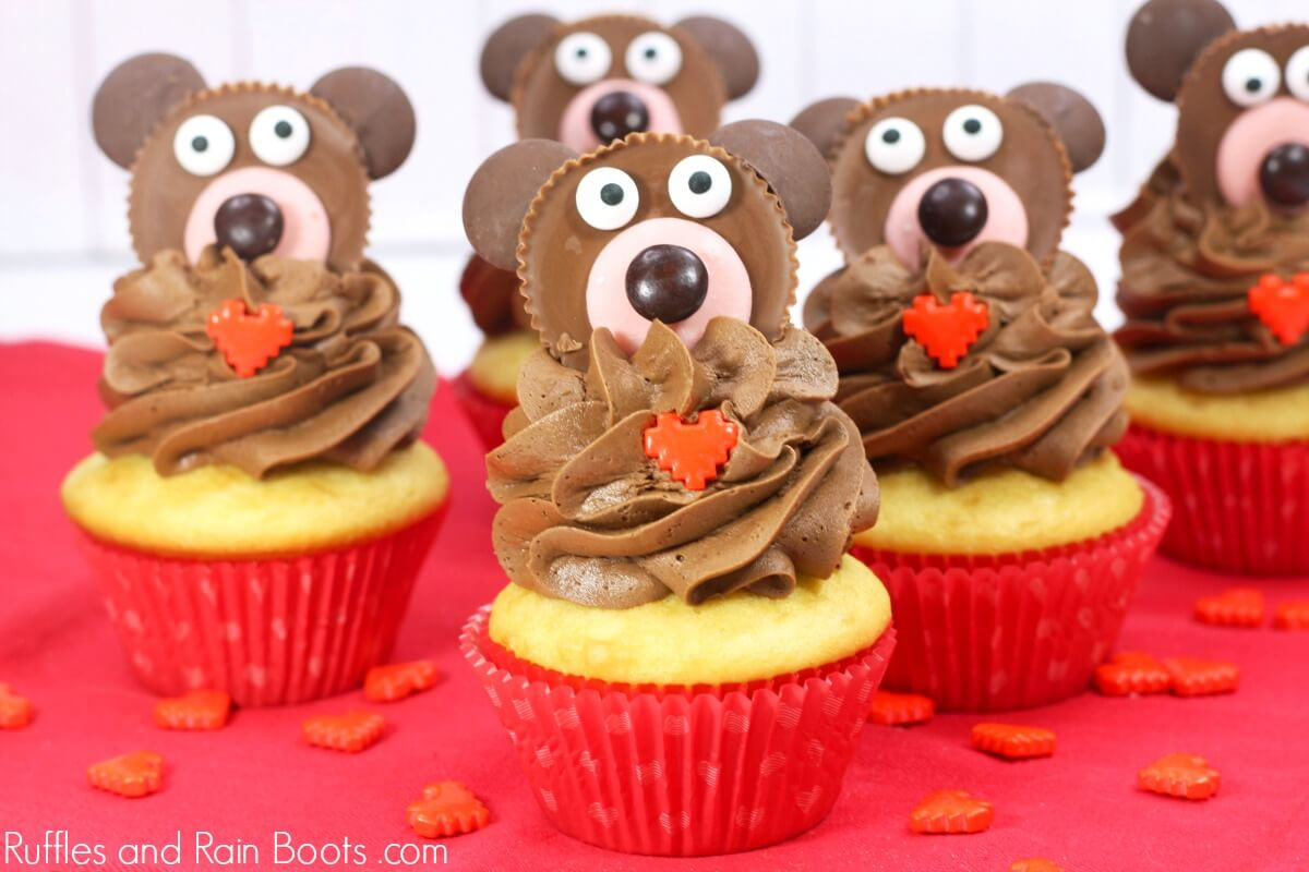 close up of adorable teddy bear cupcakes for Valentines Day