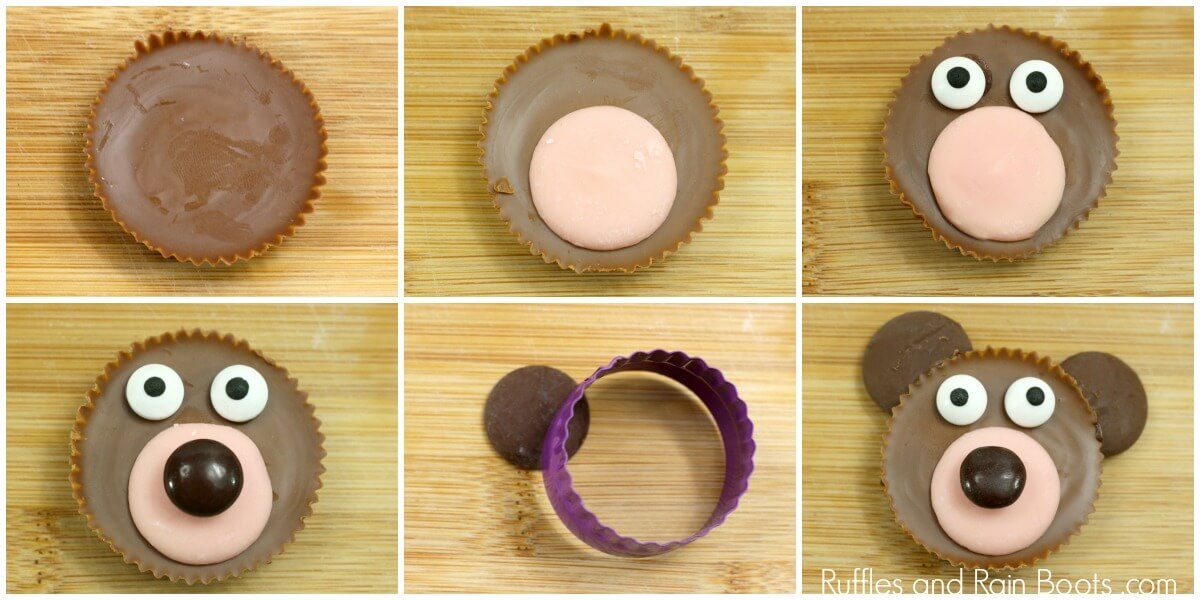 photo collage of How to Make Bear Cupcake Decorations