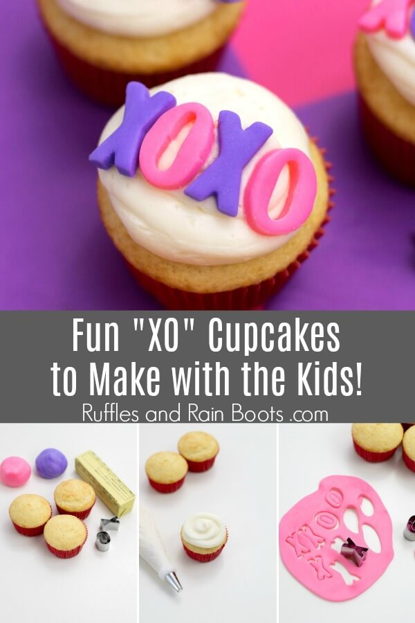 photo collage of pink and purple cupcakes with text which reads Fun XO Cupcakes to Make with the kids