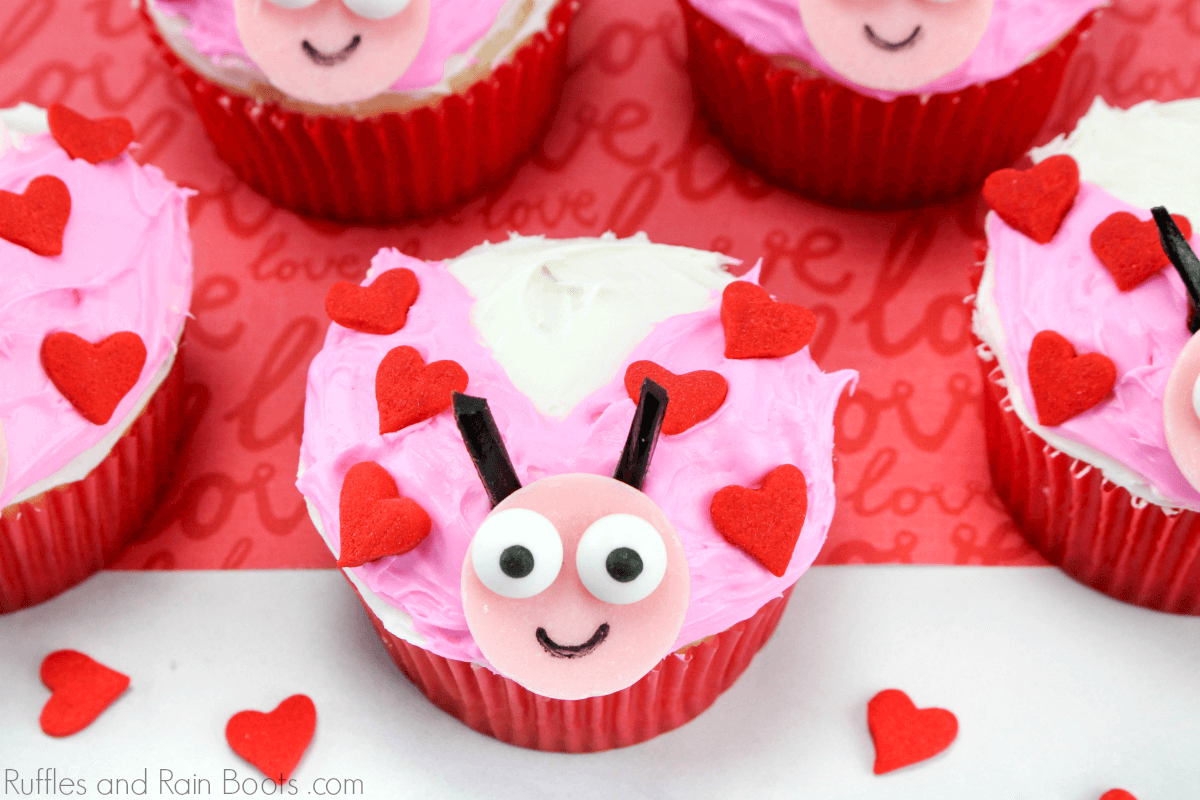 Close up of love bug cupcake on red and white Valentine's day background with no text
