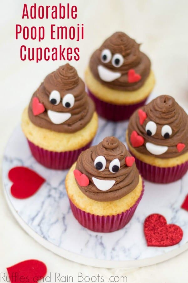 These adorable poop emoji cupcakes are so easy to make and they have a surprise inside! Click to see her tips - love them. #emoji #emojicrafts #emojiparty #cupcakeideas #cupcakedecoratingideas #valentinesday #rufflesandrainboots