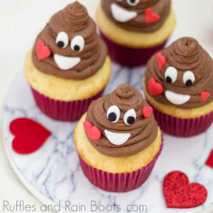 Poop Emoji Cupcakes for Valentine's Day