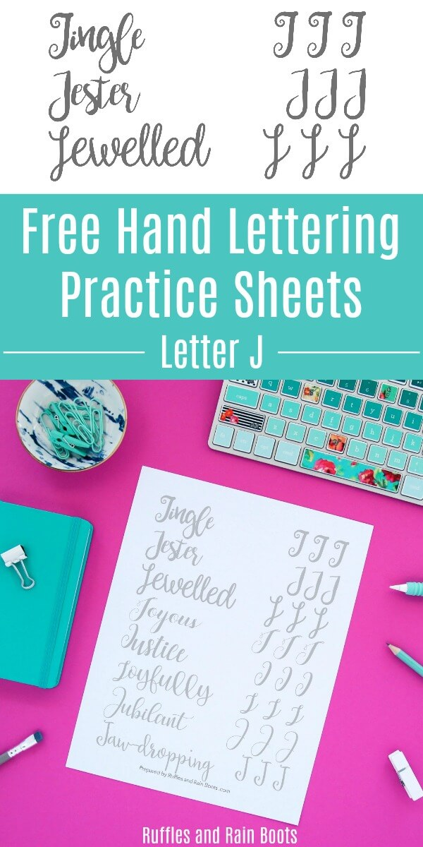 collage of letter J papers on pink background with text which reads Free Hand Lettering Practice Sheets