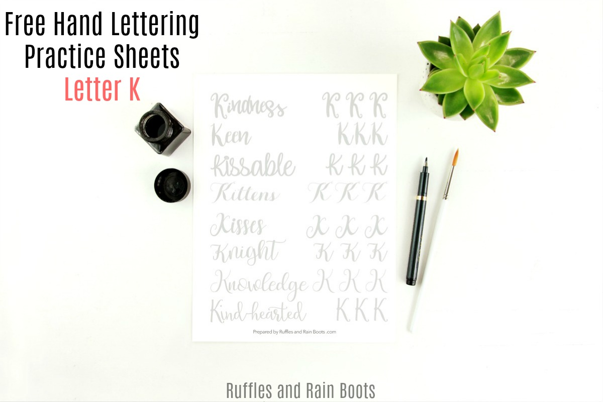 calligraphy practice on white background with text which reads letter k hand lettering practice sheets