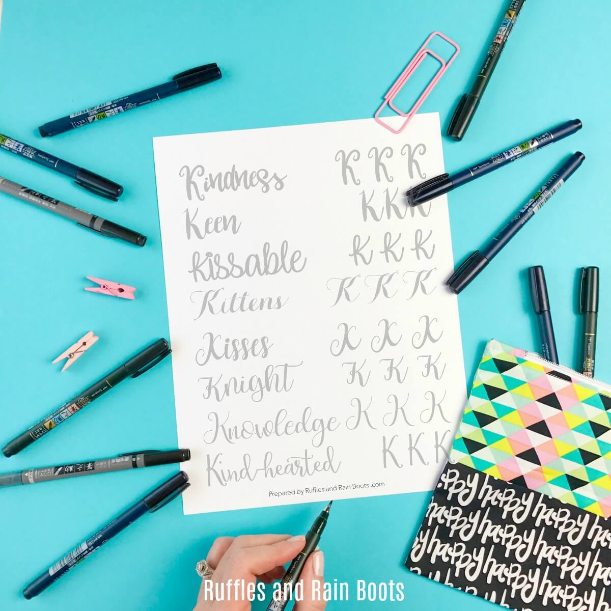 Free Letter K Hand Lettering Practice Sheets