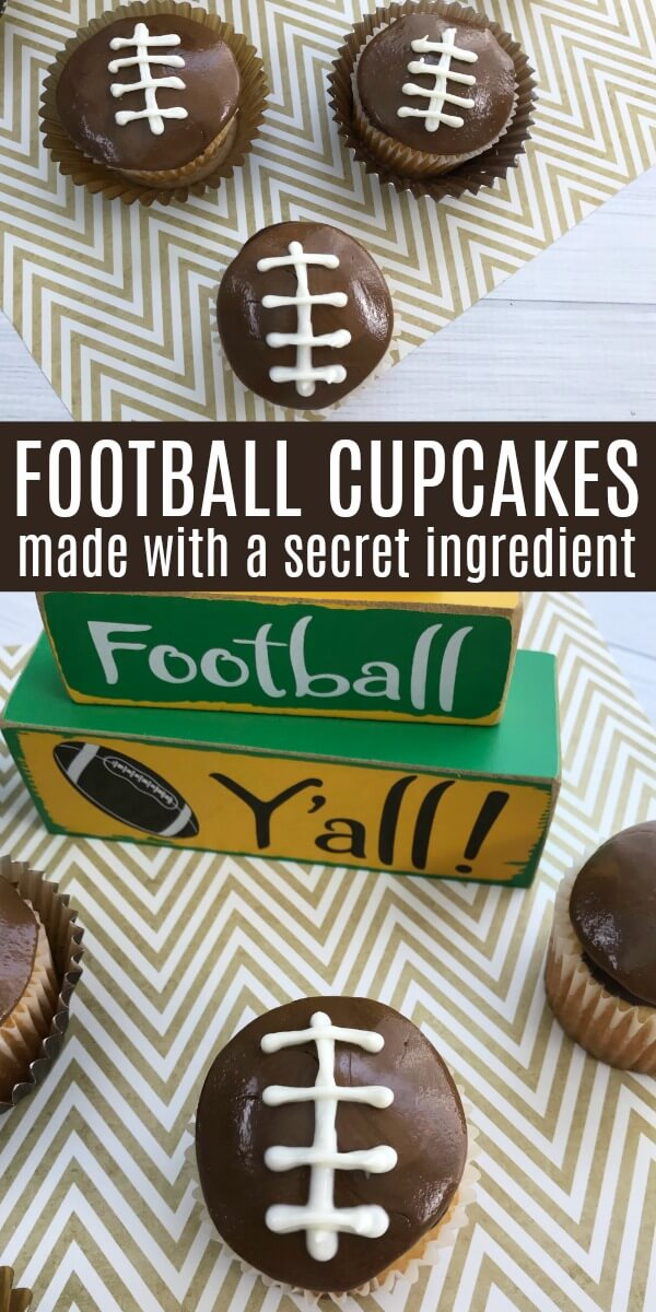 adorable game day dessert on chevron background with text which reads football cupcakes