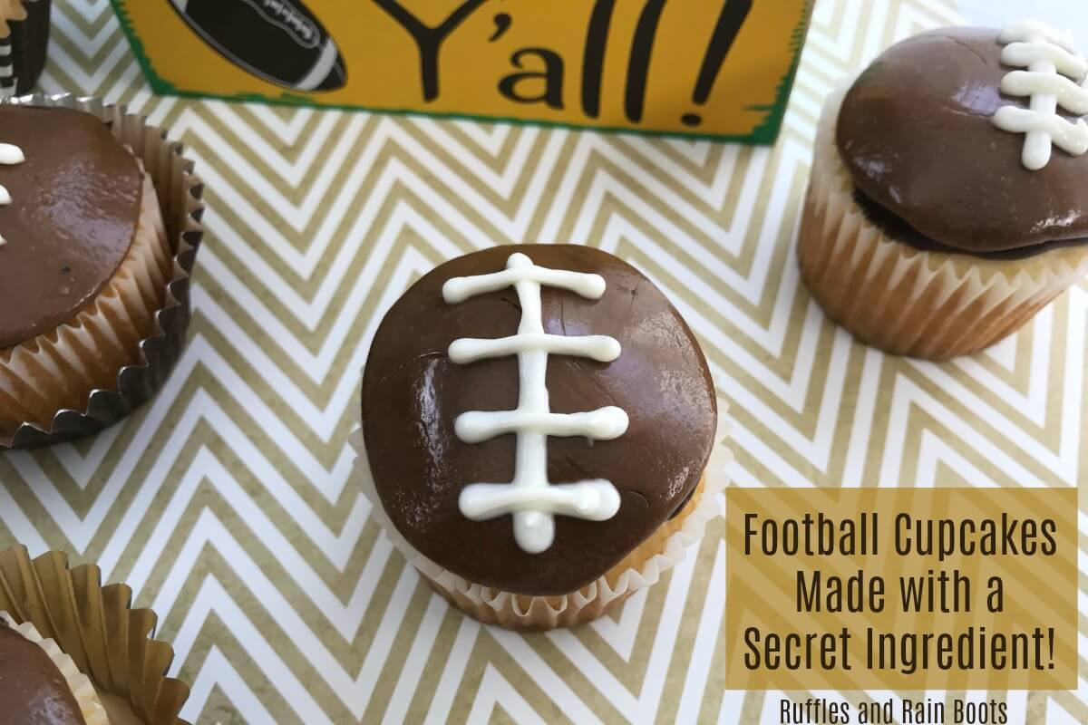 football cupcakes on chevron background
