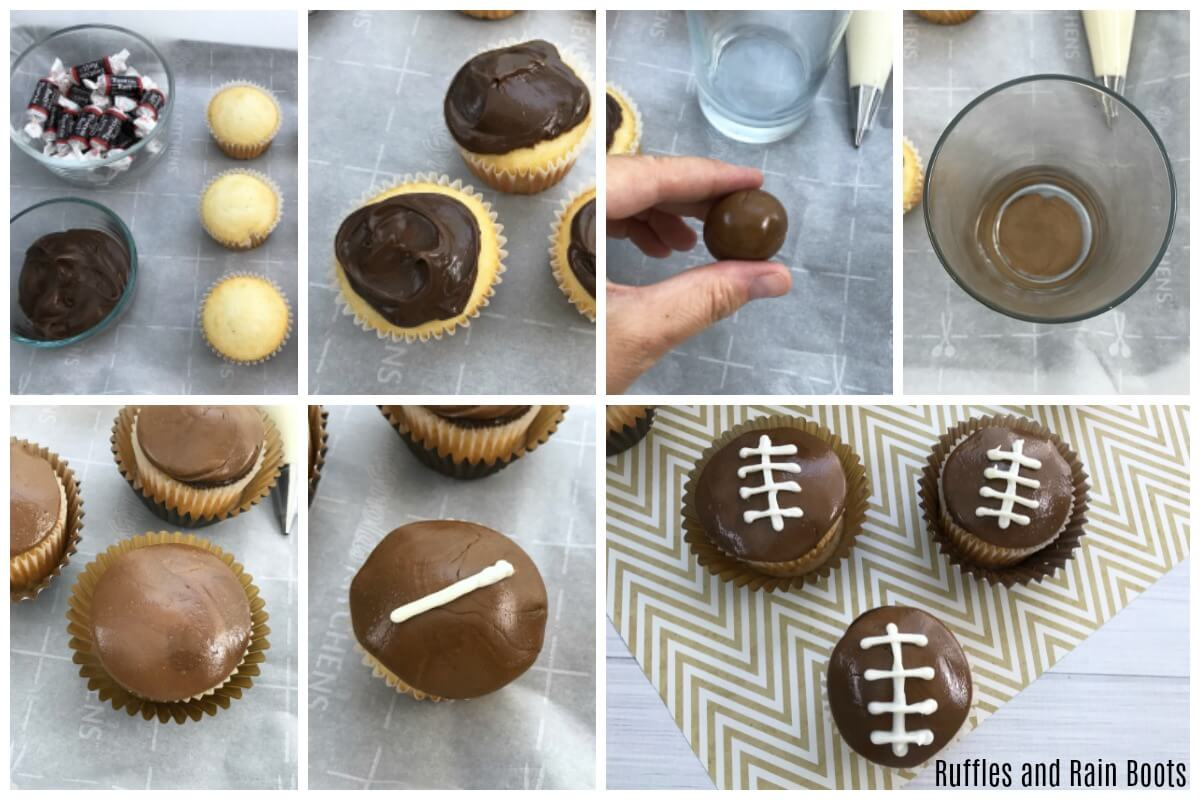 photo collage of How to Make Football Cupcakes for Game Day