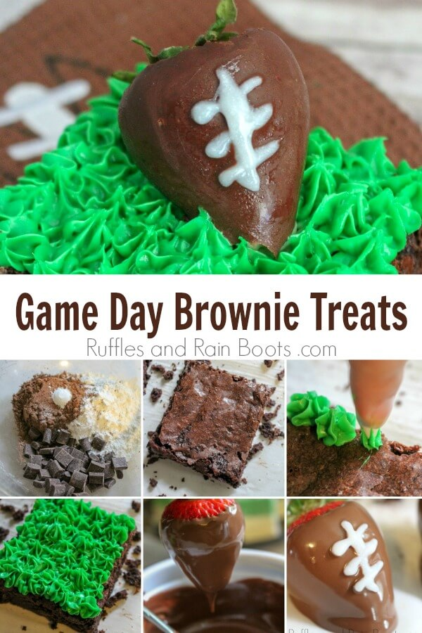 These fun and easy game day football brownies hold a fun surprise. Click to see how easy they are to make. #football #footballrecipes #superbowlfood #brownies #brownierecipe