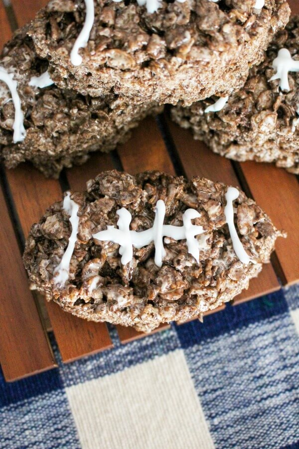 easy football game food idea for kids - football shaped rice krispies treats