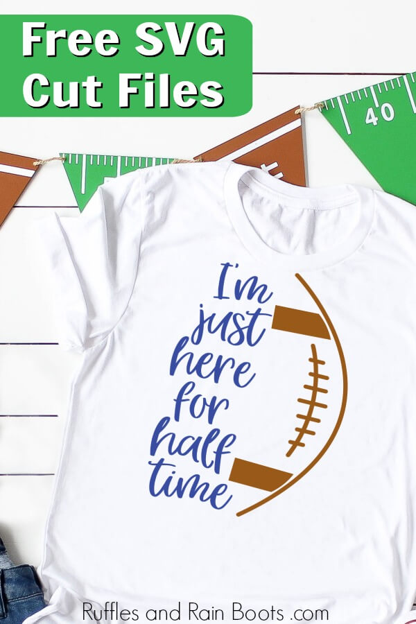 close up of Cricut project for football fans on white background with text which reads free SVG cut files