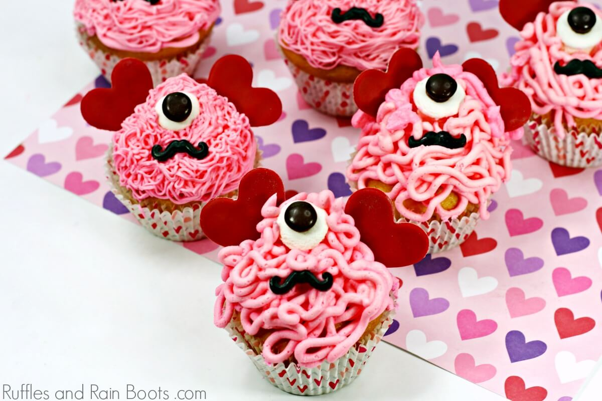 love monster cupcakes on white background