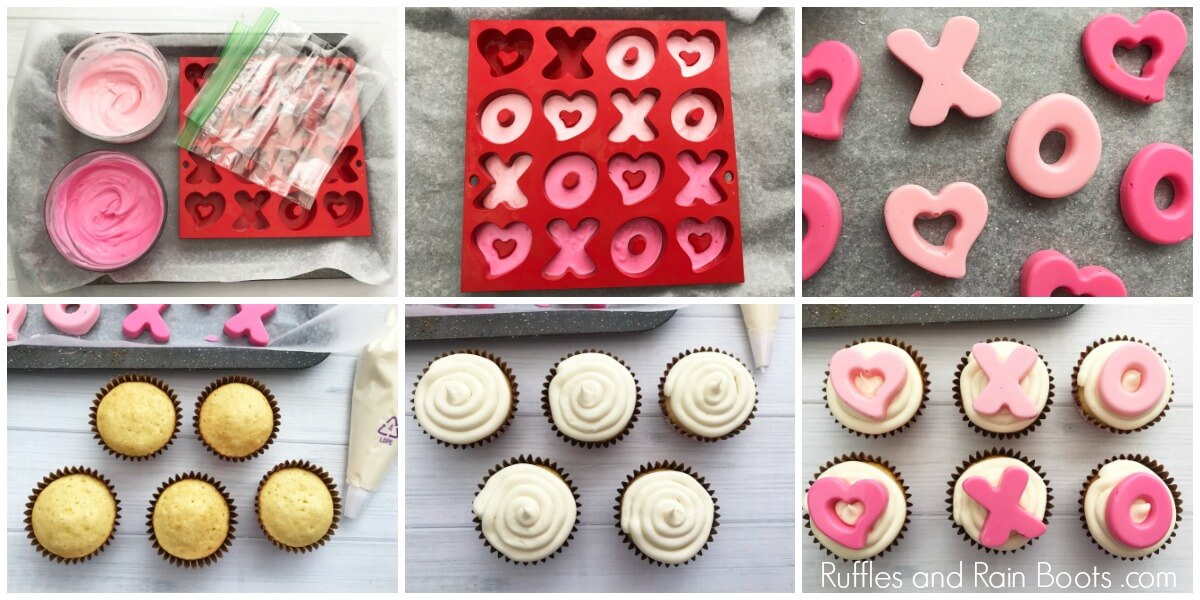 collage of how to make valentines day cupcakes