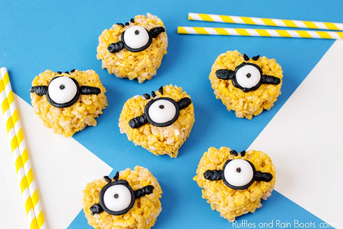 Minion Rice Krispies treats on blue background