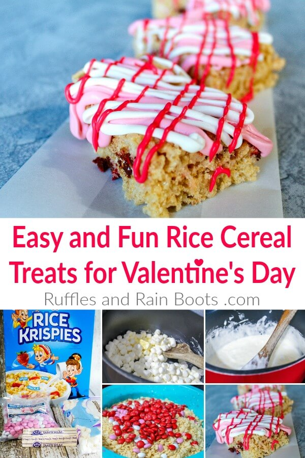 collage of decorated rice krispies treats with text which reads easy and run rice cereal treats for valentines day