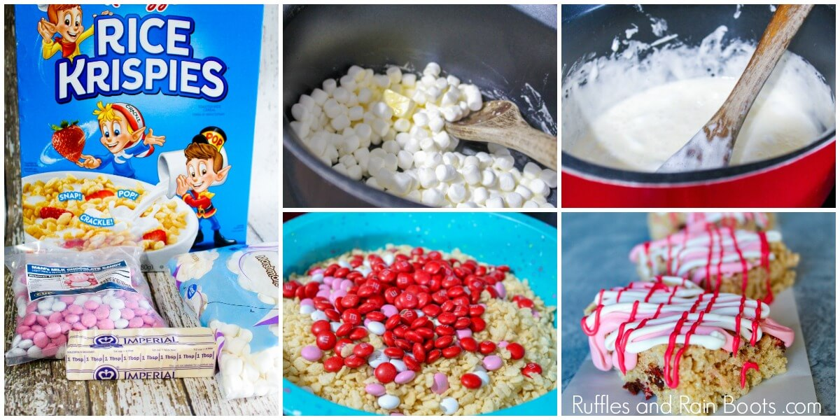 photo collage of how to make rice krispies treats for kids