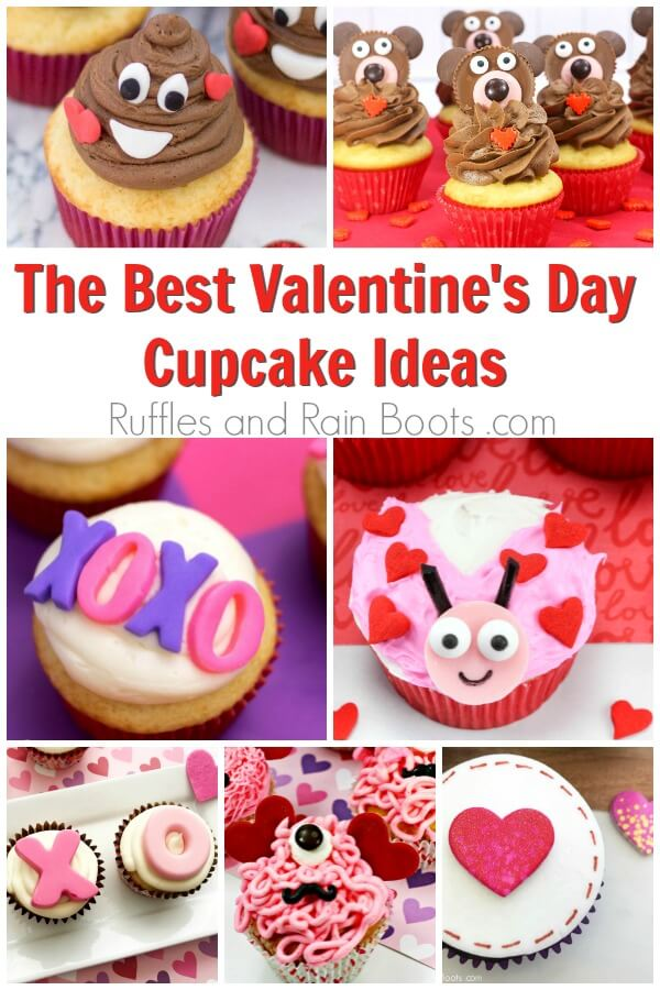 photo collage of cupcake recipes with text which reads the best valentines day cupcake ideas