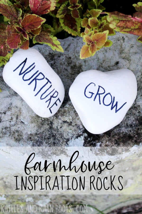Rae Dunn Rock Painting on stone in garden with text which reads farmhouse inspiration rocks