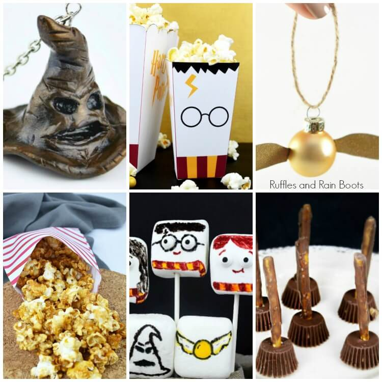 Collage Harry Potter Food Ideas and Craft Ideas for Party and Movie Night