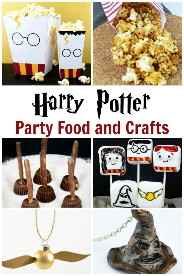 harry potter party ideas collage with text which reads Harry Potter party food and crafts