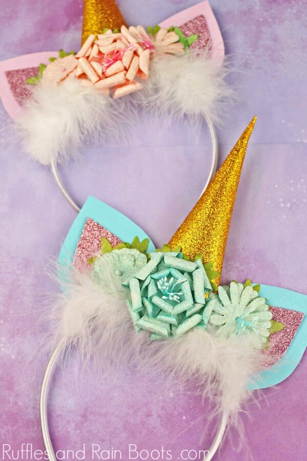 adorable unicorn headbands on pale purple background