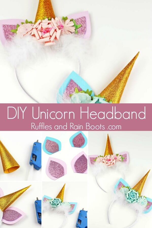 unicorn accessory photo collage on white background with text which reads DIY unicorn headband