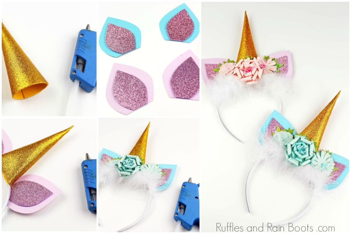 photo collage of how to make a unicorn headband