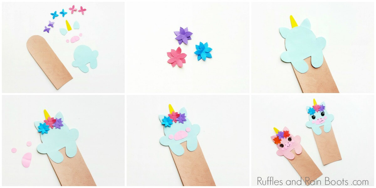 Photo collage of how to make a unicorn bookmark