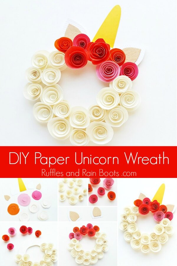 collage of unicorn wreath with rolled flowers with text which reads DIY paper unicorn wreath