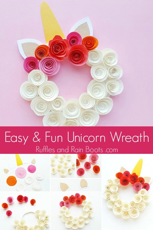 rolled flowers unicorn wreath on pink background with text which reads easy and fun unicorn wreath